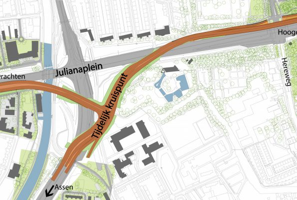 Tijdelijk kruispunt bij het Julianaplein