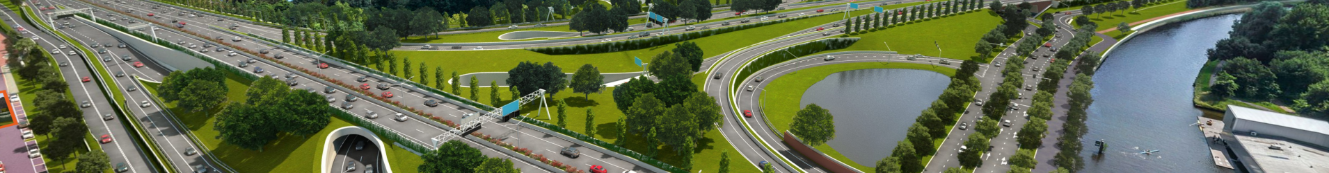 Wegontwerp Aanpak Ring Zuid Groningen in 3D.